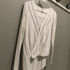 Venus white low v neck top with mesh detail, small